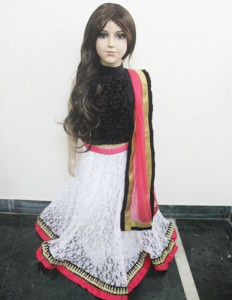 Self Net White Lehenga With Black Velvet Choli